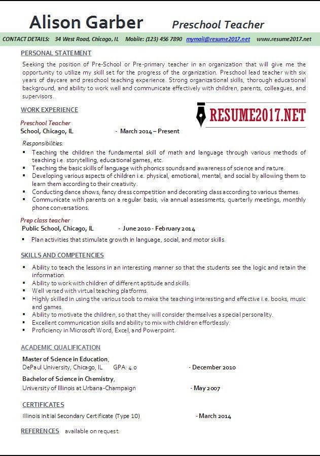 Preschool Teacher Resume Samples 2017 •