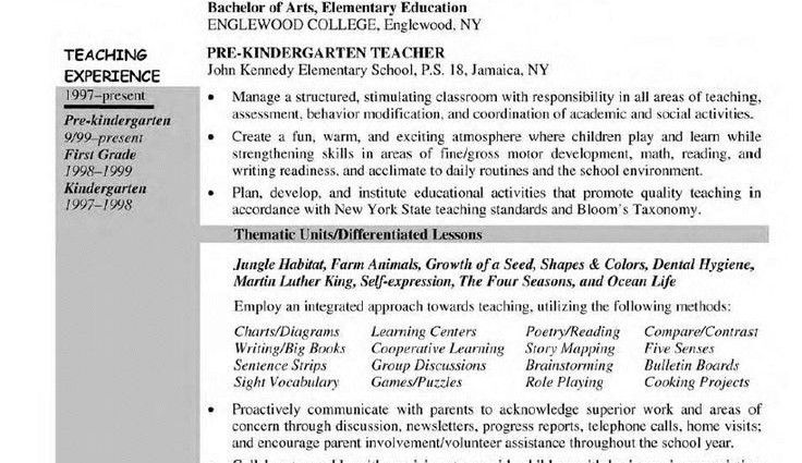 kindergarten teacher job description kindergarten teacher resume