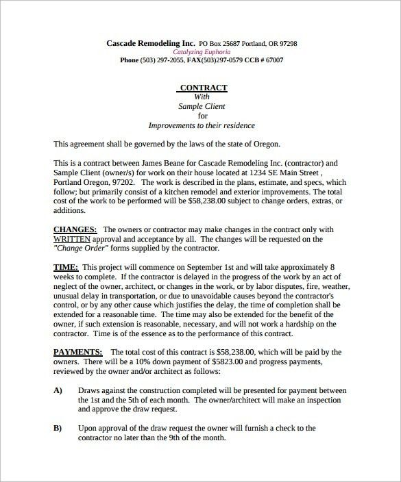 Remodeling Contract Template   8+ Download Free Documents In PDF