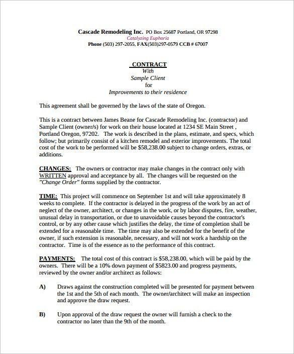 Remodeling Estimate Template Sample 8