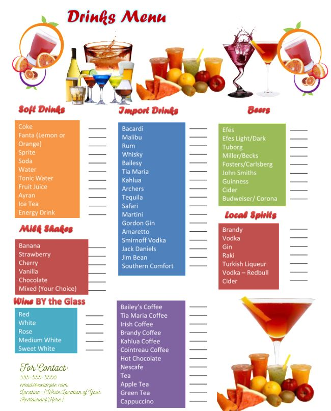 28+ [ Drink Menu Template Microsoft Word ] | Print Ready Drink ...