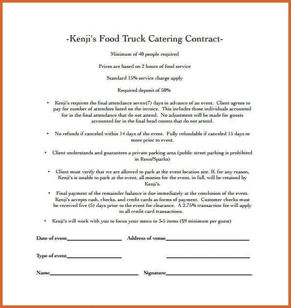 catering contract template | resume name