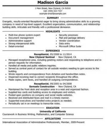 Fresh Inspiration Receptionist Resume Skills 8 Sample Resume For ...