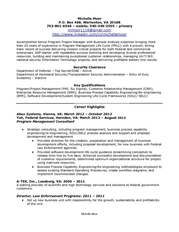 Senior Program Project Manager Resume Sample Free Download : Expozzer