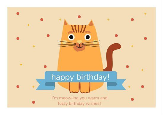 Cute Cat Happy Birthday Card - Templates by Canva