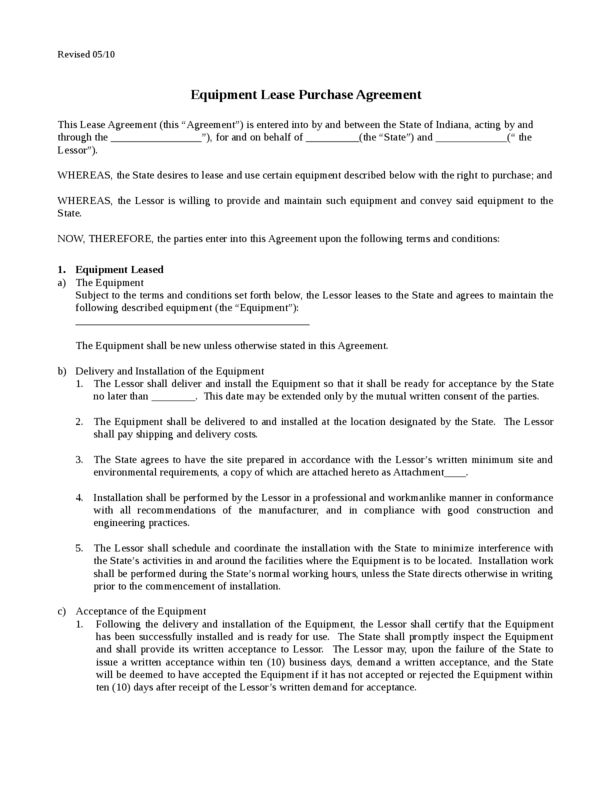 Equipment Lease Template 2 | LegalForms.org
