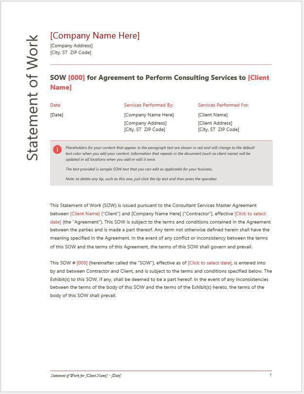 Statement of Work (SOW) for Services or Consulting Company ...