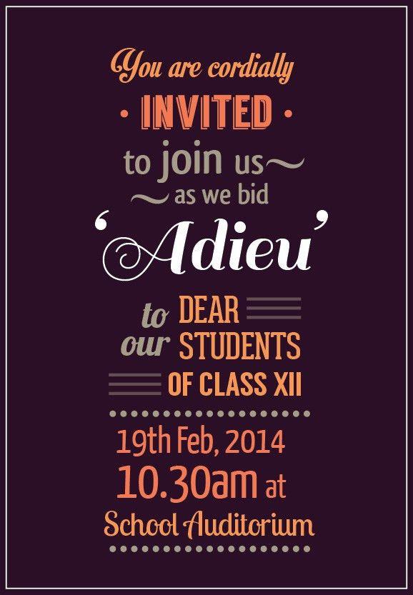 Adieu-Farewell Invite on Behance