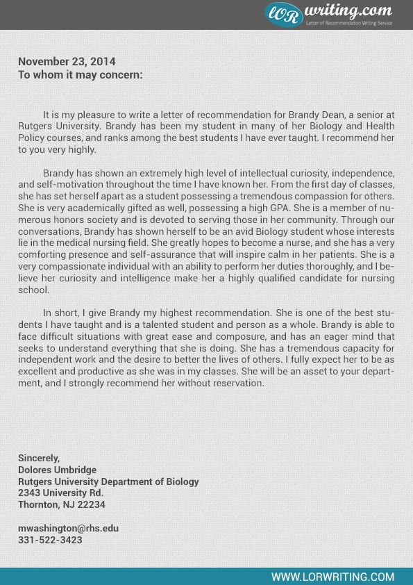 Professional Medical School Letter of Recommendation Sample | LoR ...