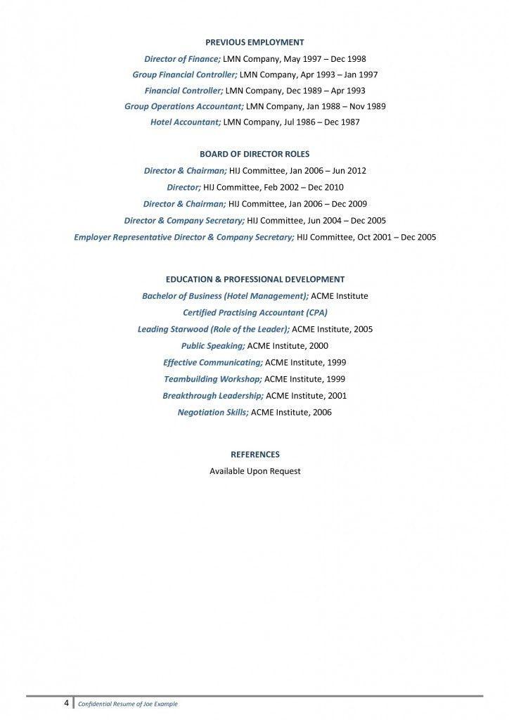 Senior Management Resume Example