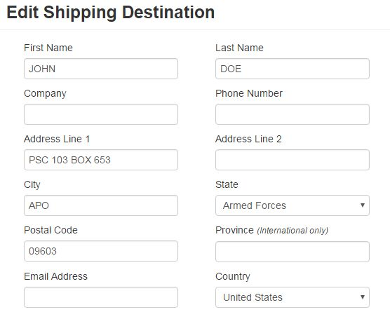 How to: Format Military mail addresses – ShippingEasy Knowledge Base