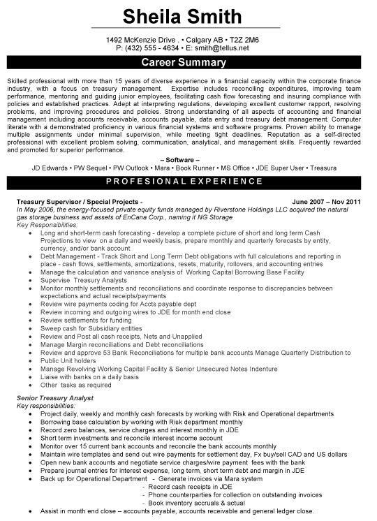 Treasury Supervisor Resume Sample | Resume Samples | Pinterest