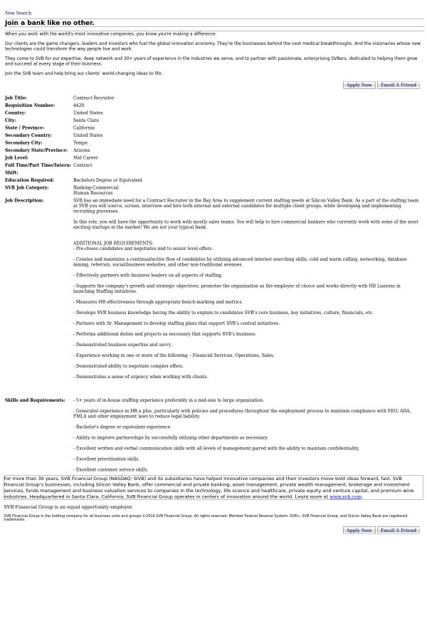 Contract Recruiter job at Silicon Valley Bank in Santa Clara, CA ...