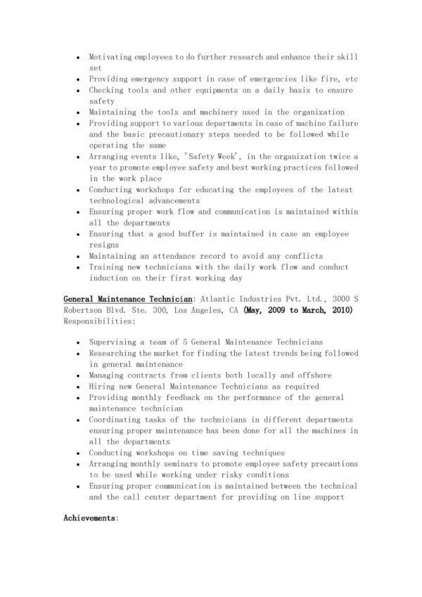 The Page 2 of General Maintenance Technician Resume Sample ...