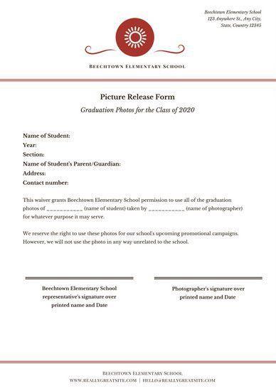 White Simple Photo Release Form Permission Slip Document ...