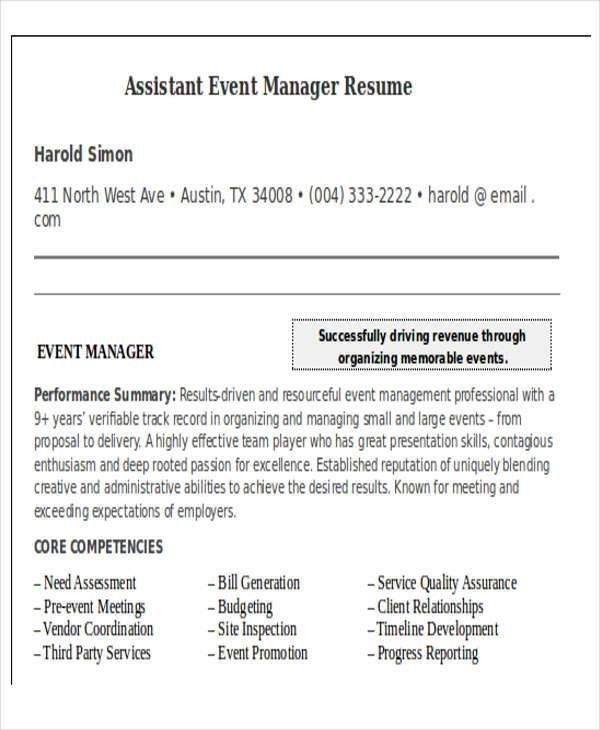 Event Manager Cv  Events Manager Resume