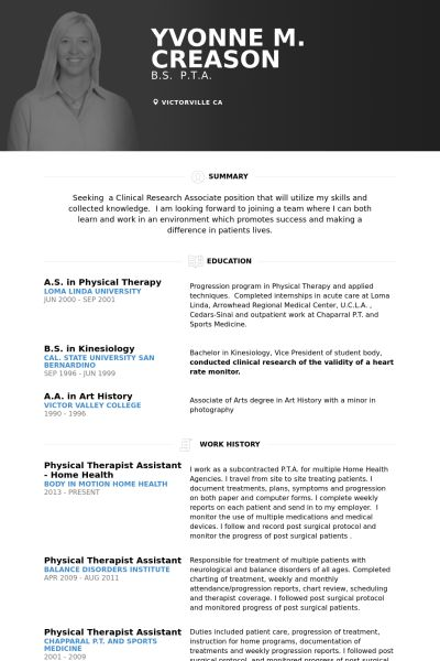 Physical Therapist Resume samples - VisualCV resume samples database