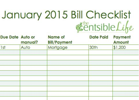 Track and Pay Bills with Printable Bill Checklist