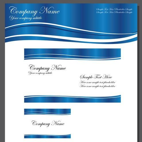 Business Template Blue Wave Vector | DragonArtz Designs