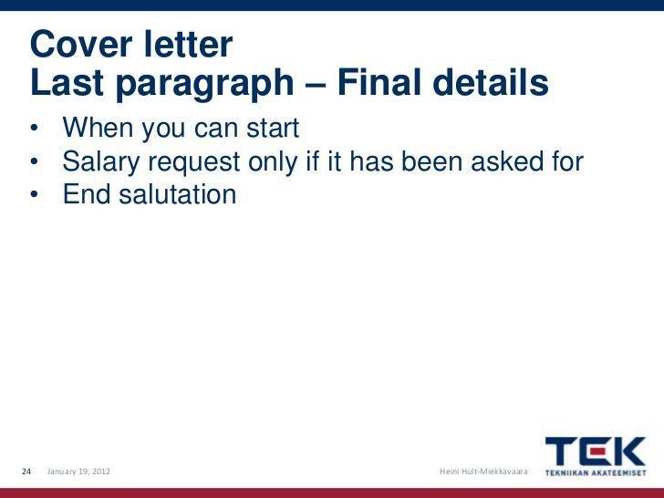 Cover Letter Last Paragraph