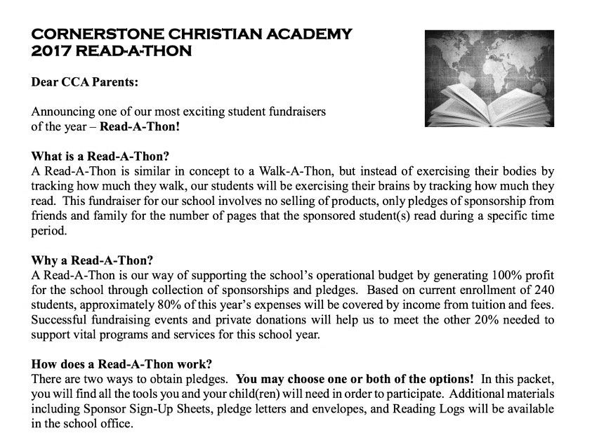 Sponsor Sheets. Read-A-Thon Parent Information Read-A-Thon 20 Free ...