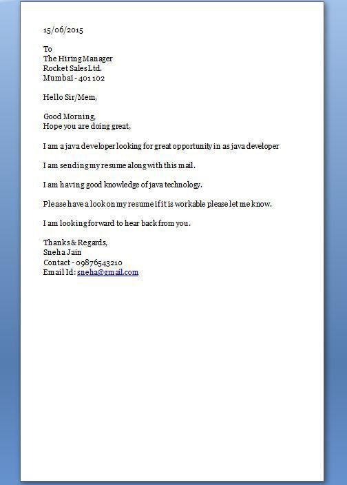 Starting a cover letter