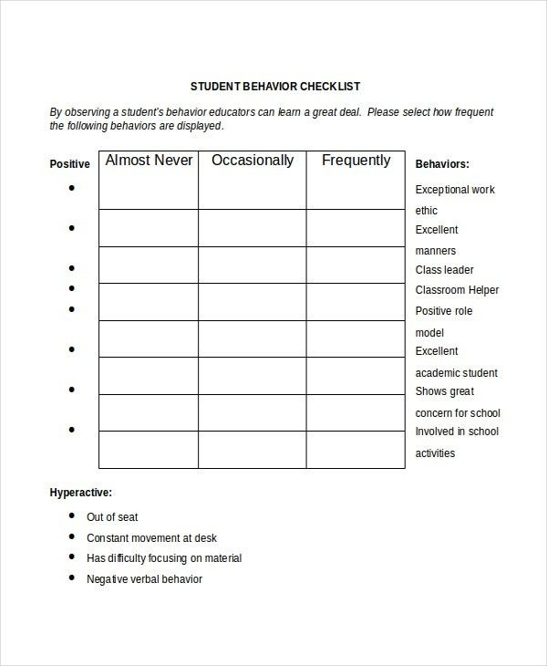 Student Checklist Template -7+ Free Word, Excel, PDF Documents ...
