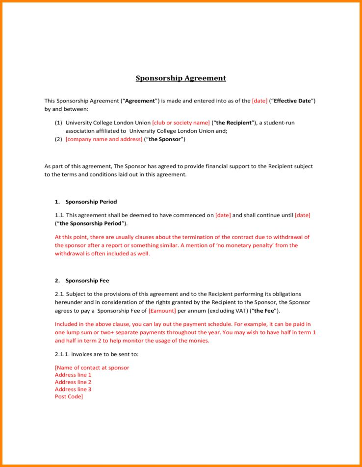4+ sponsorship contract template | memo templates