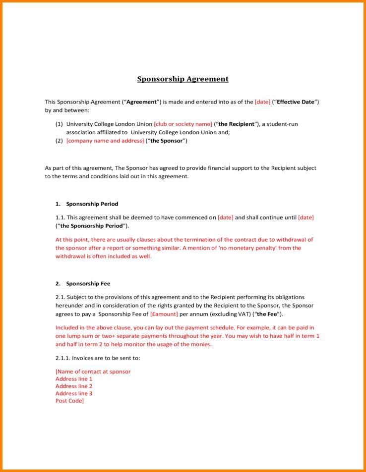 4+ sponsorship contract template   memo templates