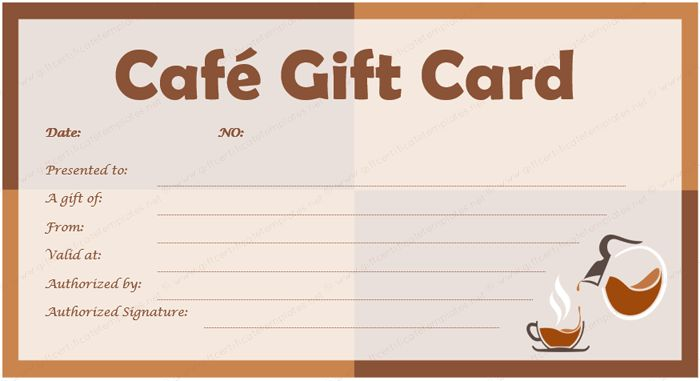 Cafe Gift Card Template for Microsoft® Word
