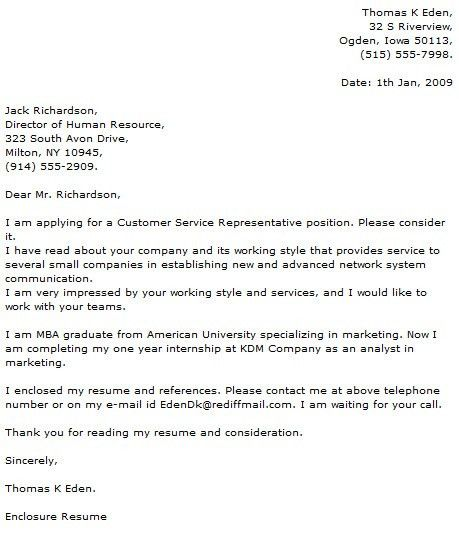 Cover Letter for Customer Service Representative within Cover ...