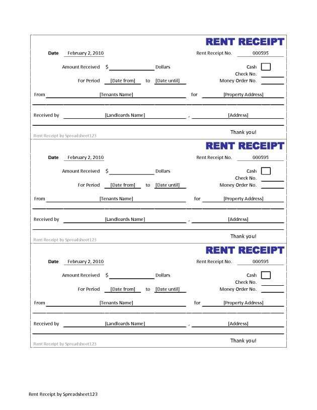 Printable Invoice and Blank Rent Receipt Template Sample : Helloalive