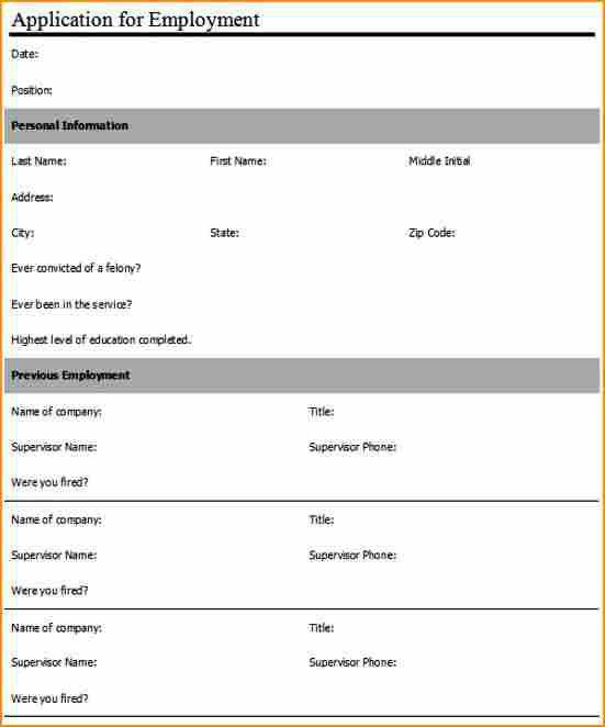 11+ application form for employment template - Basic Job ...