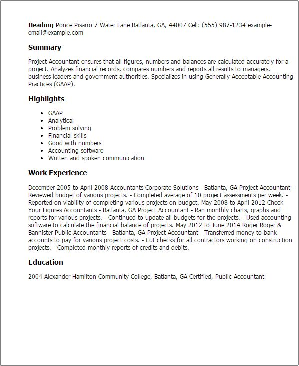 Professional Project Accountant Templates to Showcase Your Talent ...