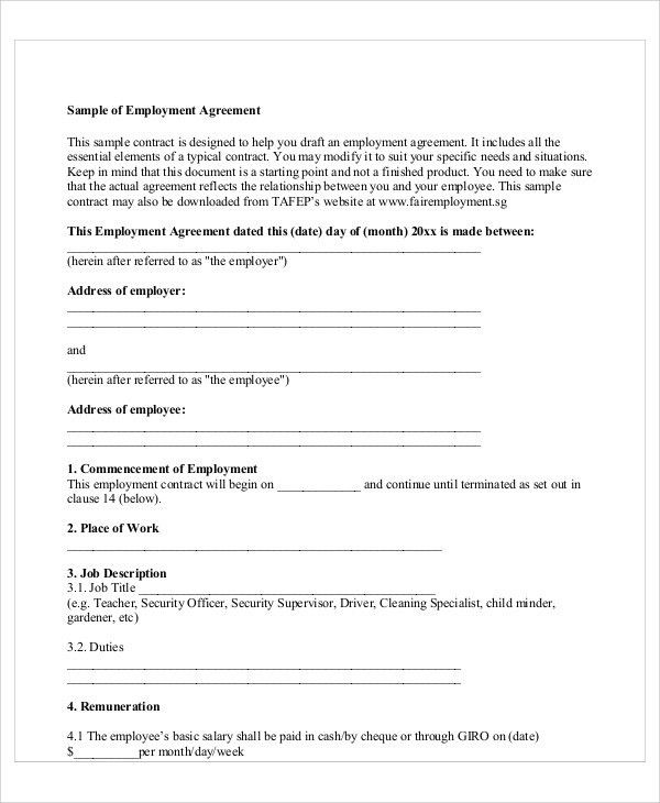 Sample Contract Employee Agreement - 7+ Examples in Word, PDF