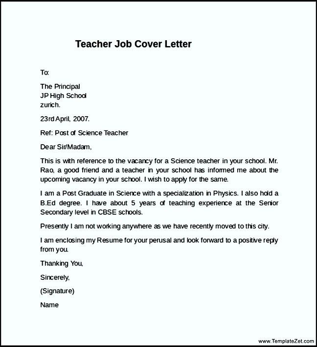 Teacher Job Cover Letter Example | TemplateZet