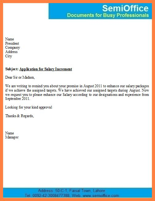 Sample Letter Format Request Salary Increment   Resume Builder Kelowna