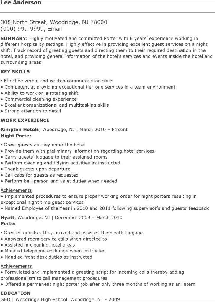 car porter resume sample contegricom - Hotel Porter Sample Resume