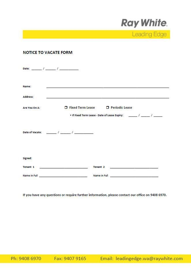 Free Printable Intent to vacate letter (Template) - Vacate Notice