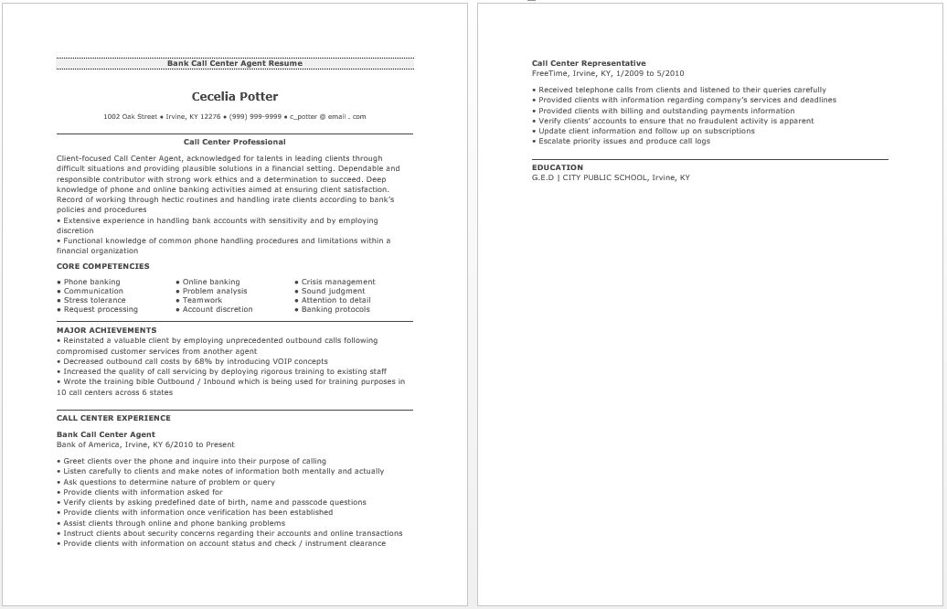 bank call center resume by cecilia potter - Writing Resume Sample ...
