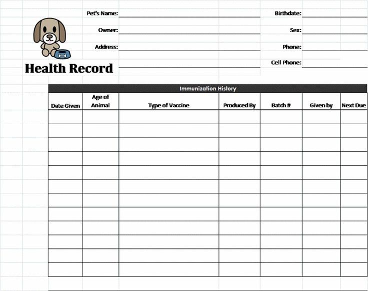 Puppy Records Template | Pet Health Record template | Pet - Dog ...