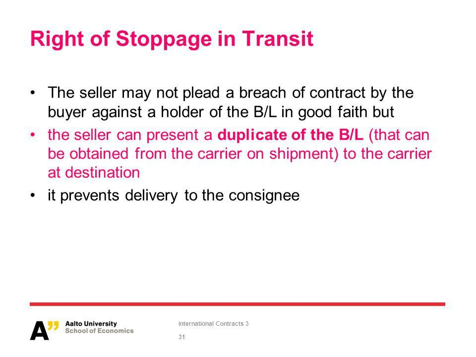 International Contracts Slide Set 3 Contracts of Sale and Carriage ...