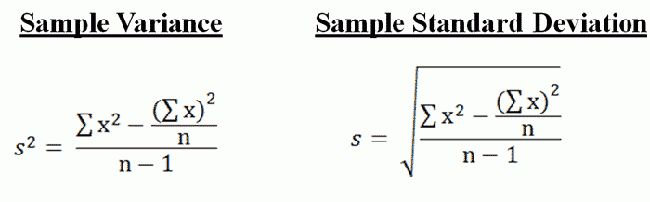 Variance and Standard Deviation of a Sample
