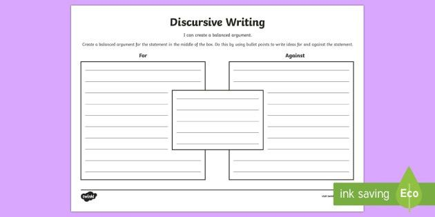 Blank Discursive Writing Template - CfE Writing,discursive