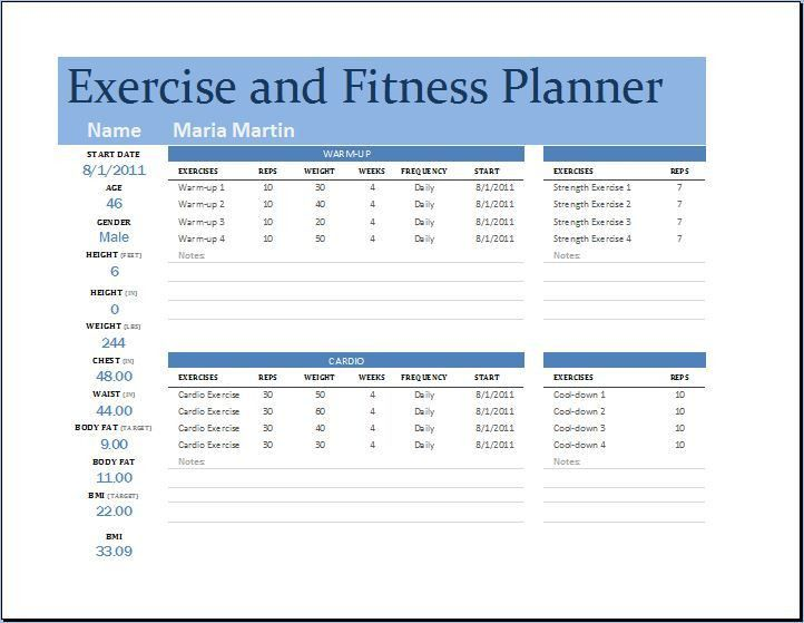Exercise Plan Template. Sample Timeline For An Exercise Program ...