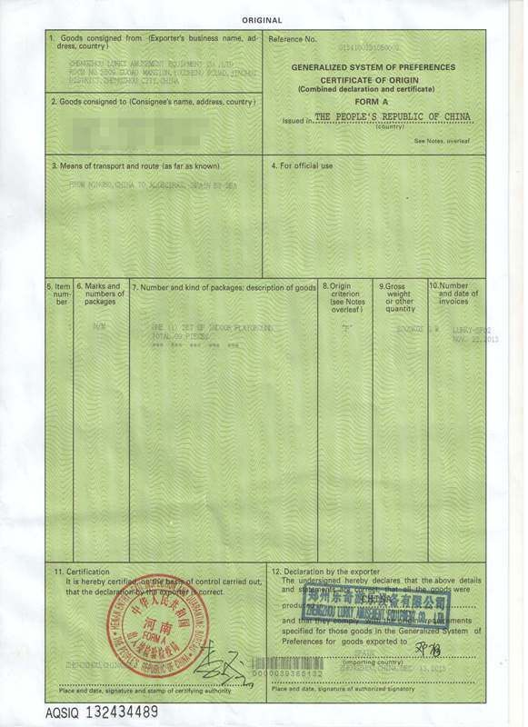 We can make the certificate of origin for amusement rides