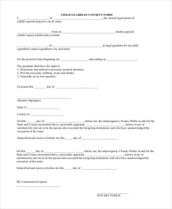 Free Child Medical Consent Form] Child Medical Consent Form ...