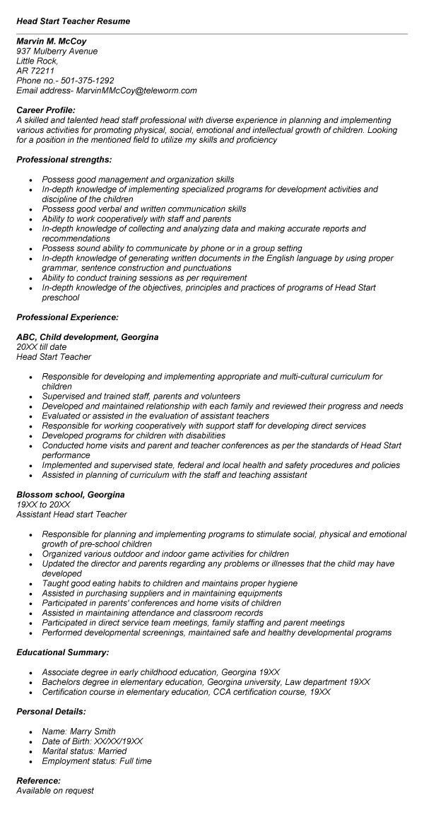 teacher cv template. head teacher resume examples. 16 fields ...