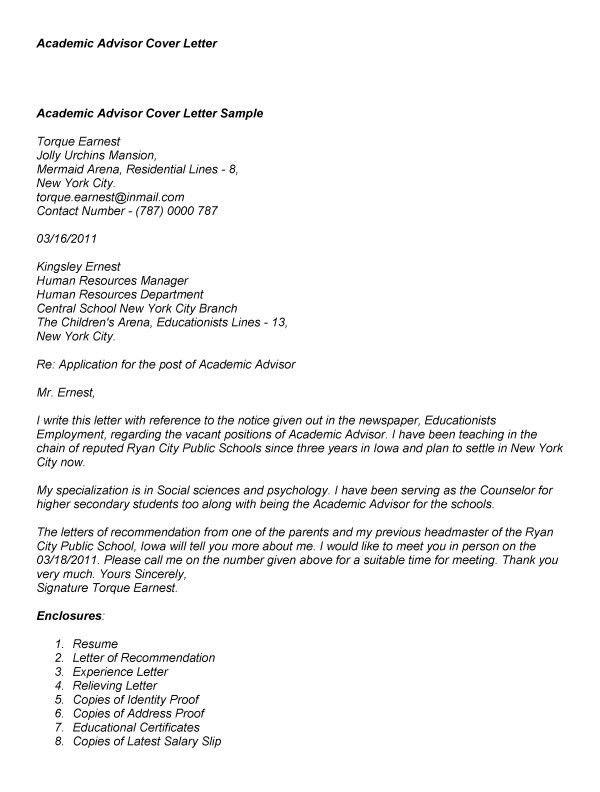 Sample Academic Advisor Cover Letter. Cover Letter Samples No ...