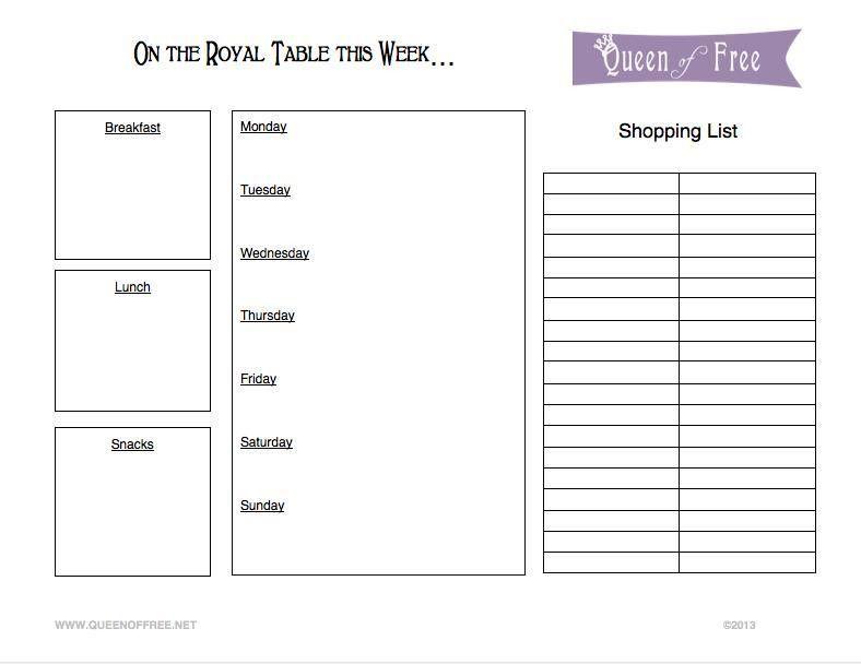 FREE Printable Menu Planner & Grocery List - Queen of Free